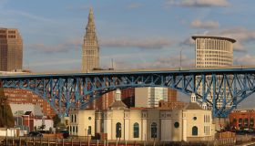 Cleveland city skyline seen from the historic Flats neighborhood