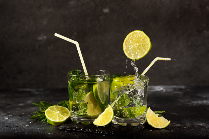 Mojito drink with splash