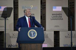 U.S President Donald Trump speaks at Whirlpool in Ohio