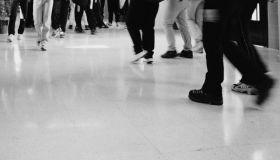 High School Students Walking in a Hallway