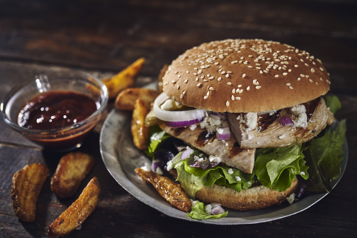 Grilled Chicken Burger with Feta Cheese, Onions and Lettuce