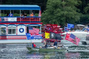 Boats take part in a pro-Trump boat parade on the West...