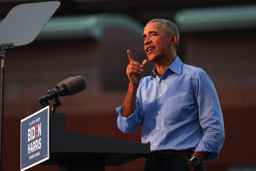 Former President Barack Obama Campaigns For Candidate Joe Biden In Philadelphia