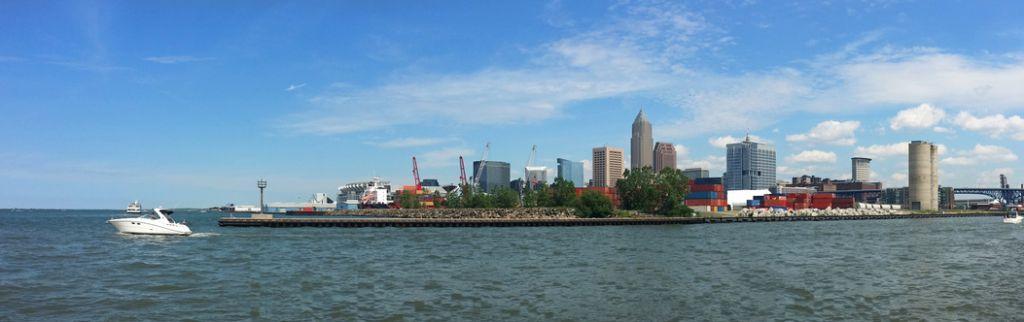 Cleveland skyline and shipyards across the Cuyahoga River