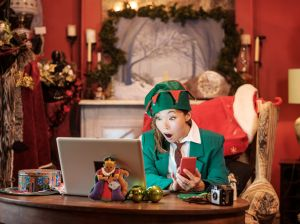 Christmas Elf on a Video Conference Call