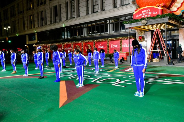 Celebrity And Performance Groups Rehearse At Herald Square In Preparation For The 94th Annual Macy's Thanksgiving Day Parade®