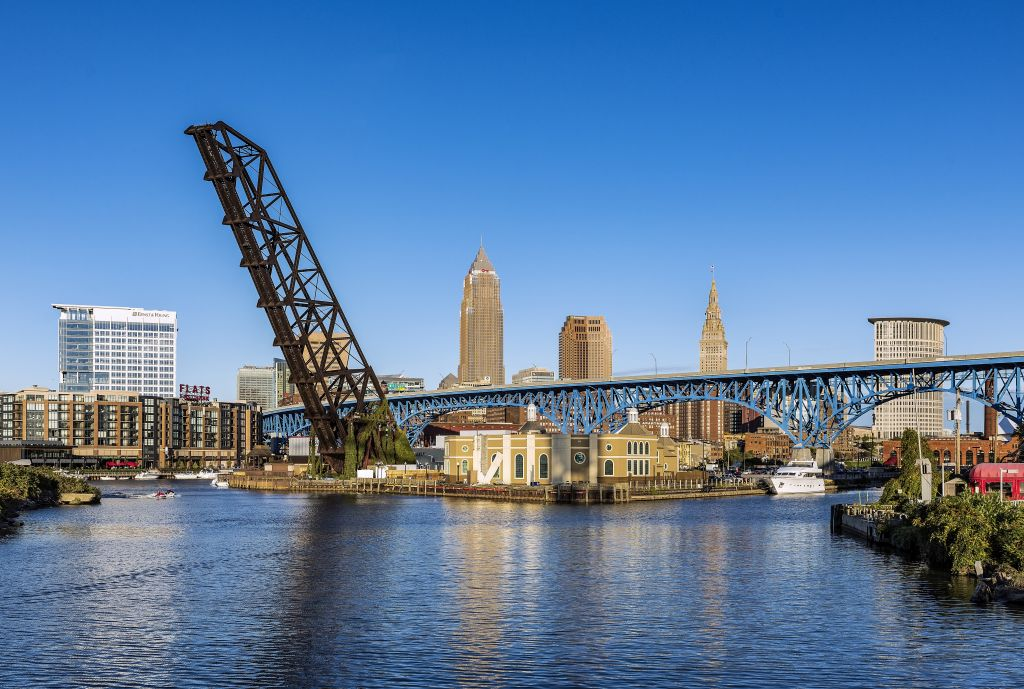 City skyline and the Cuyahoga River in Cleveland.