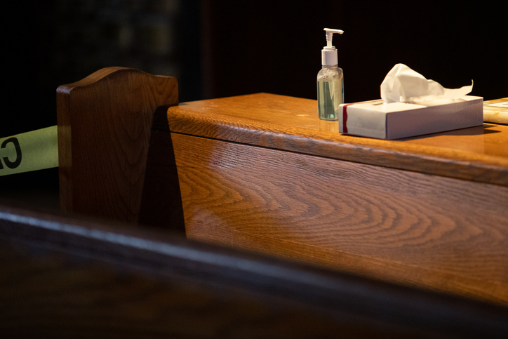 Hand sanitizer and tissues for church visitors