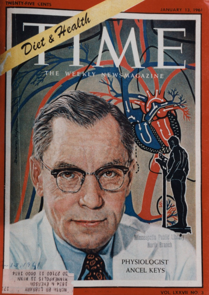 Time magazine cover Jan 13, 1961, shows Univ of Minn scientist Ancel Keys.