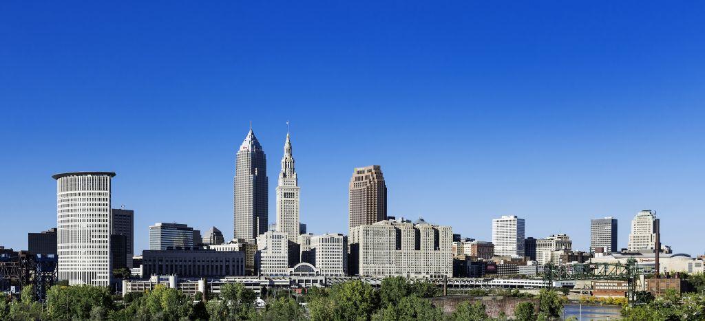 Cleveland city skyline in Ohio.