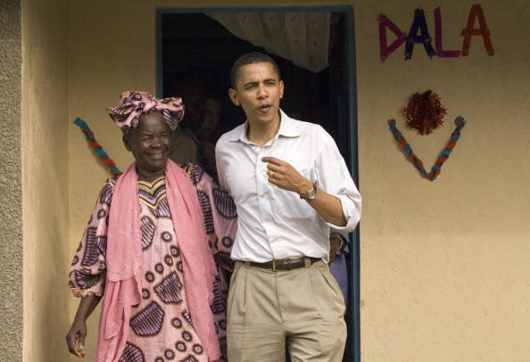 U.S. Sen. Barack Obama (D-IL) emerges with his grandmother,