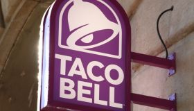 Taco Bell logo seen outside a branch in Paseo de Gracia...