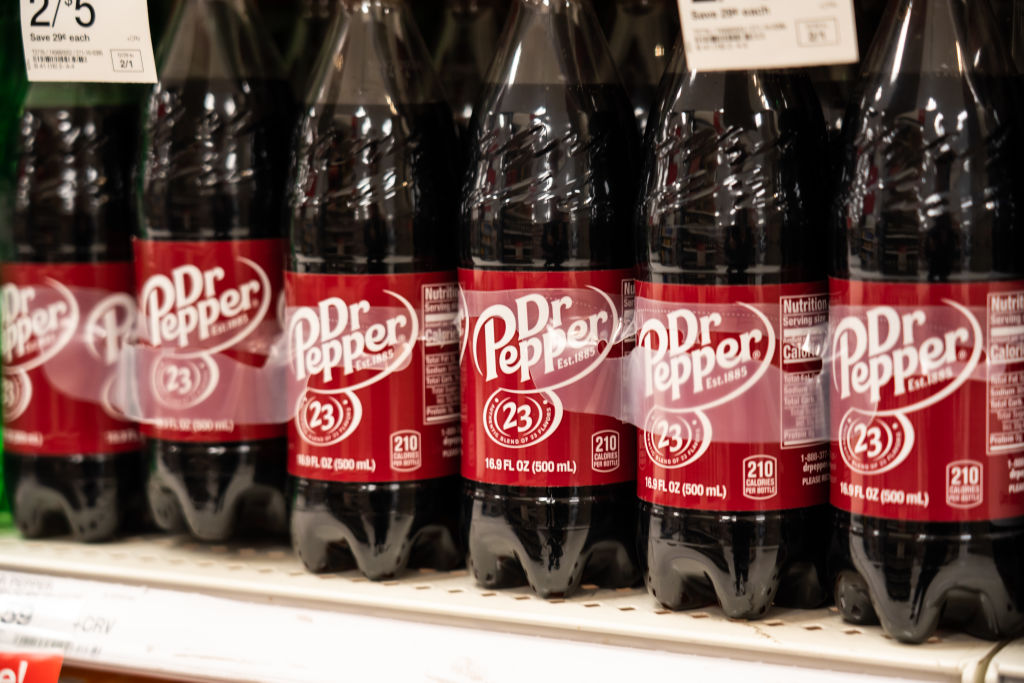 Bottles of Dr Pepper seen in a Target superstore...