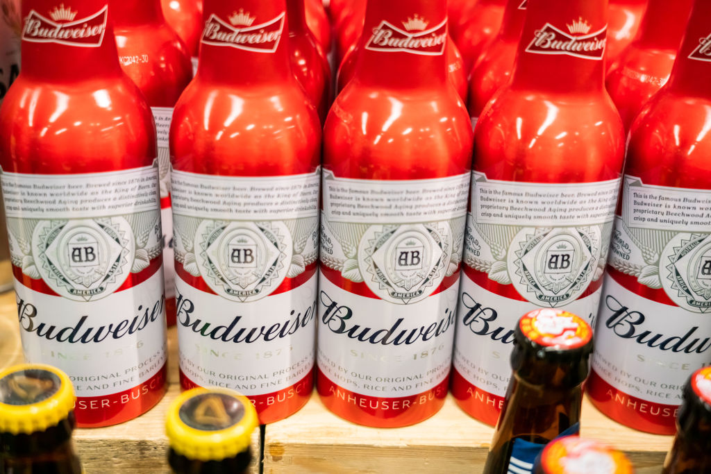 Bottles of Budweiser beer seen at a supermarket...