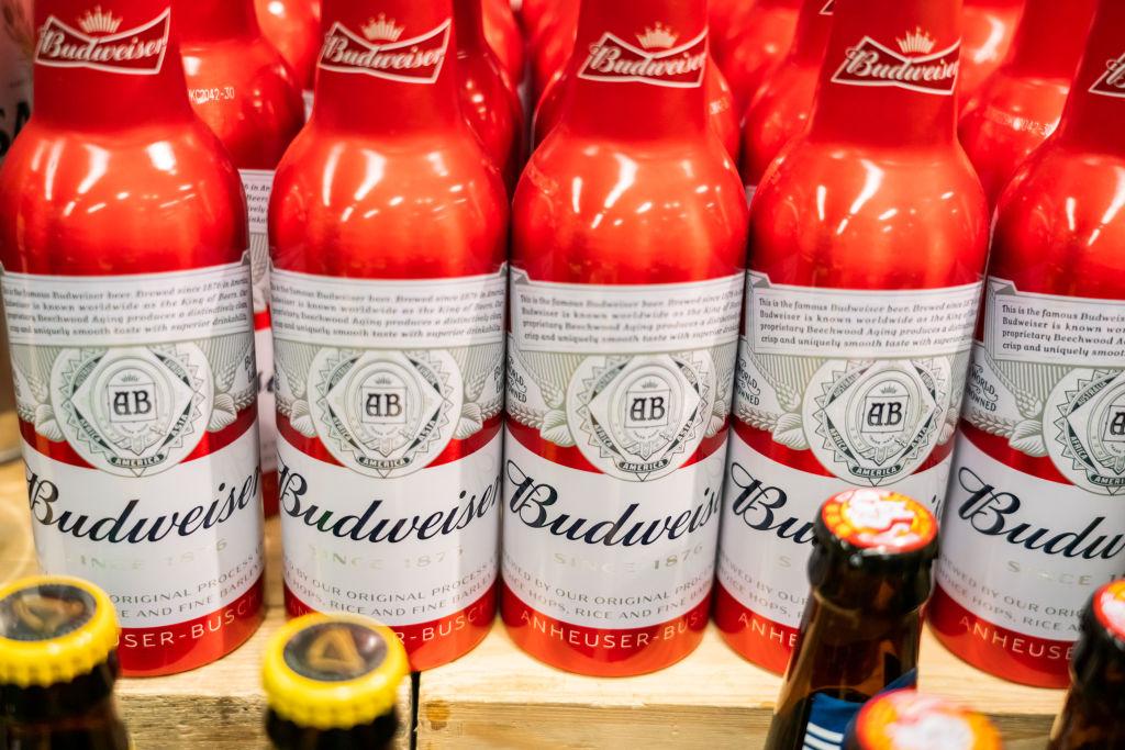 Bottles of Budweiser beer seen at a supermarket...