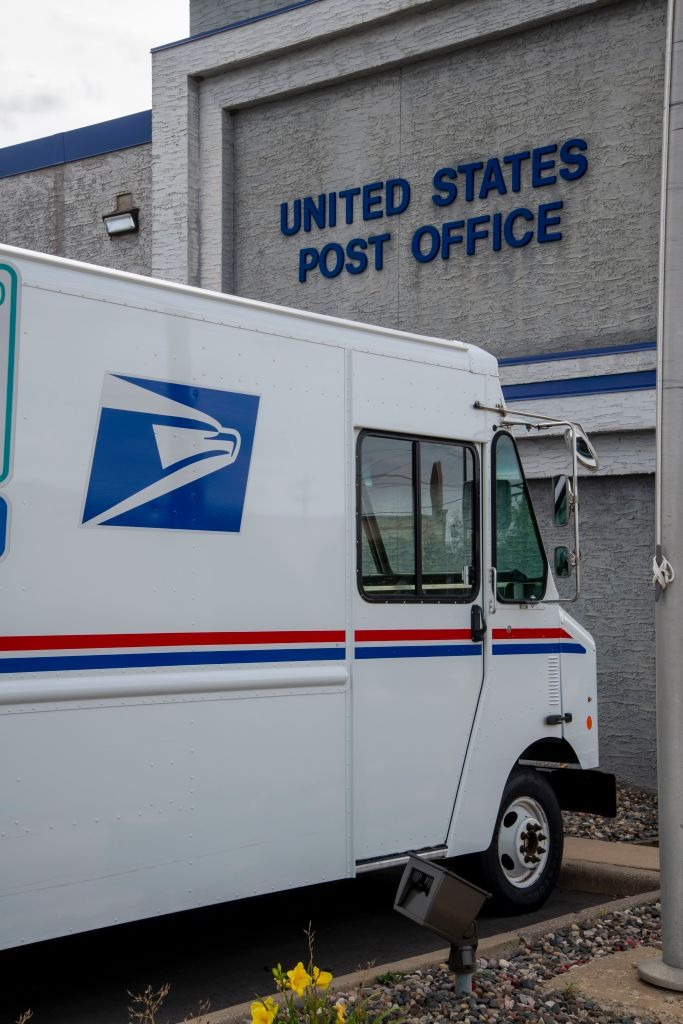 United States Post Office, Mail delivery truck parked at post office, Roseville, Minnesota.