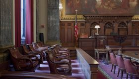 East courtroom, Judge bench and Jury box, Howard M. Metzenbaum U.S. Courthouse, Cleveland, Ohio