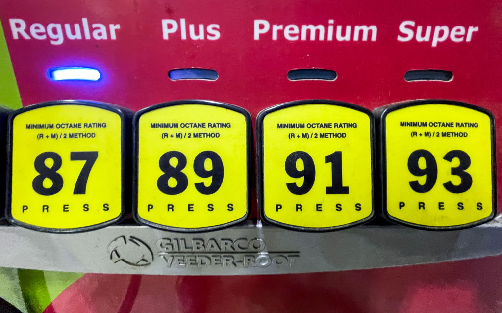 Gas Pump Octane Buttons At Gas Station In Pennsylvania