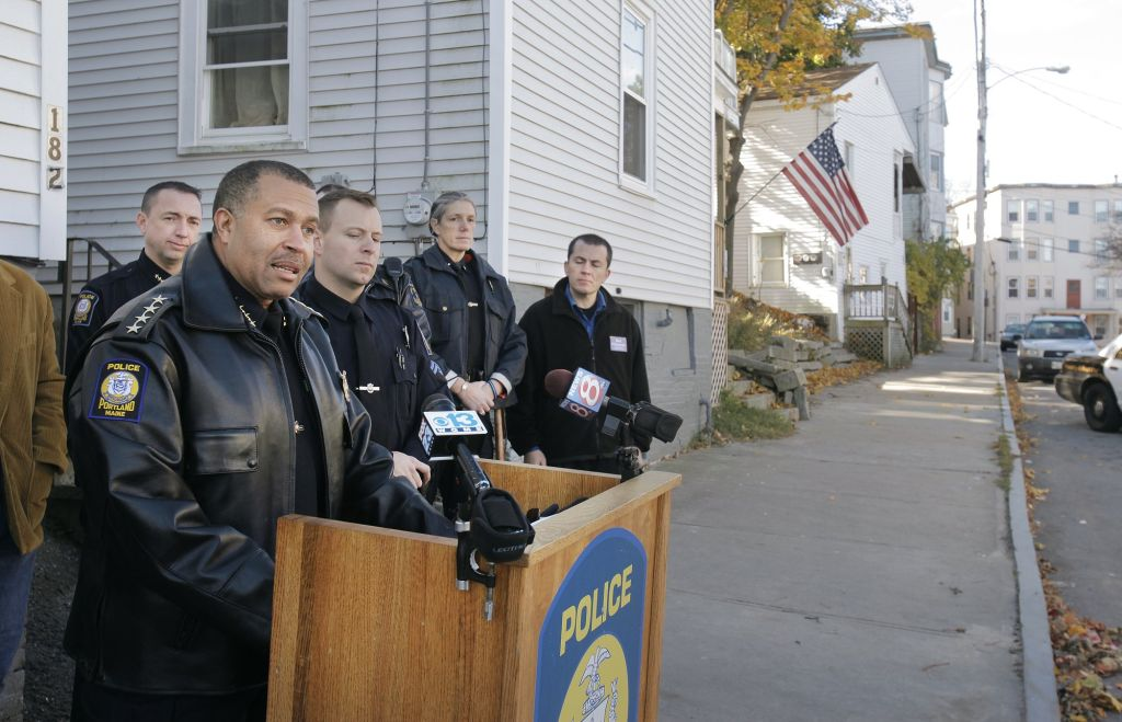 On Grant Street in Portland on Monday, November 1, 2010, Portland Police Chief James Craig talks ab