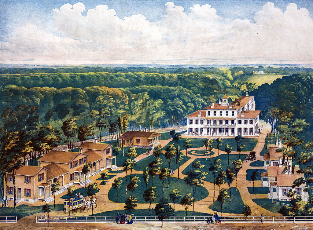 Wilberforce University, Xenia, Ohio. (The coloured peoples college). Birds-eye view of university buildings. Middleton, Wallace & Co. Cincinnati, Ohio.