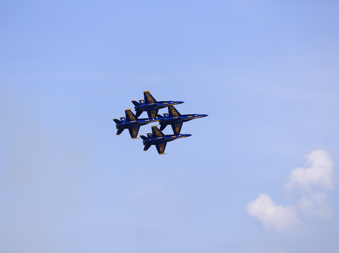 Blue Angels in diamond formation at Cleveland Air Show 2018