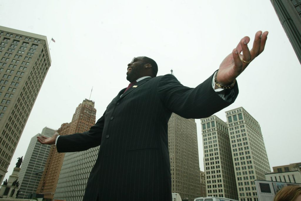 DETROIT, MICHIGAN –– Mayor Kwame Kilpatrick is excited at the opening of a park in front of the new