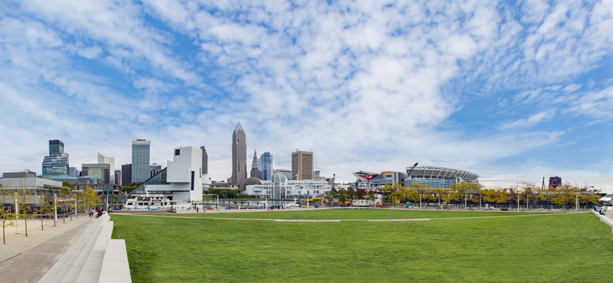 Cleveland from the shoreline at Voinovich Bicentennial Park