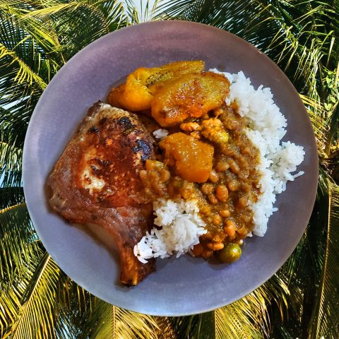 Puerto Rican Pork Chop with Rice and Beans and Sweet Plantains
