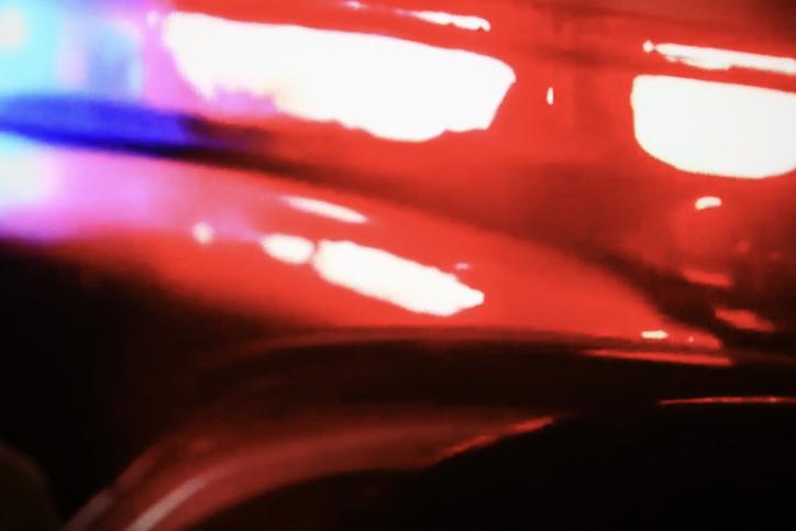 Patrol car flashing lights for emergency