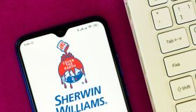 In this photo illustration the Sherwin-Williams Company logo...