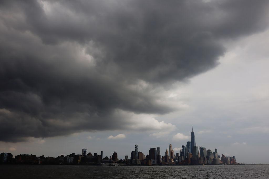 Thunderstorm Passes Over Lower Manhattan in New York City