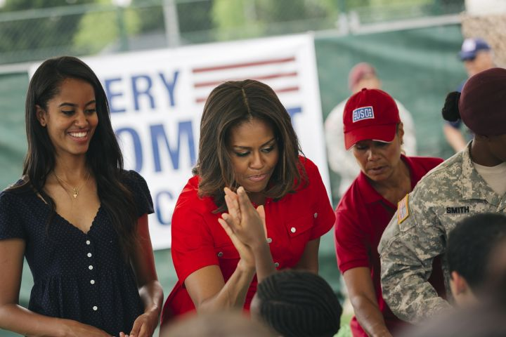 Michelle Obama and family at Village Camp Ederle