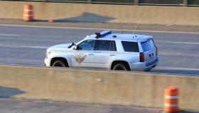 Close-up of a Patrol Patrol Vehicle patrolling the highway