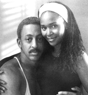 """Gregory Hines and Suzzanne Douglas on the set of the movie """"Tap"""""""