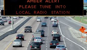 AMBER 1 / 05/14/05 -- Amber Alert is displayed on sign over westbound Highway 401 near Keele St. Pol
