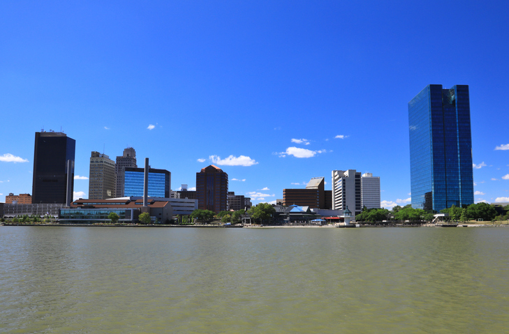 Downtown Toledo skyline on the Maumee river