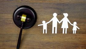 Family law concept. Family Paper and Judge gavel on the table