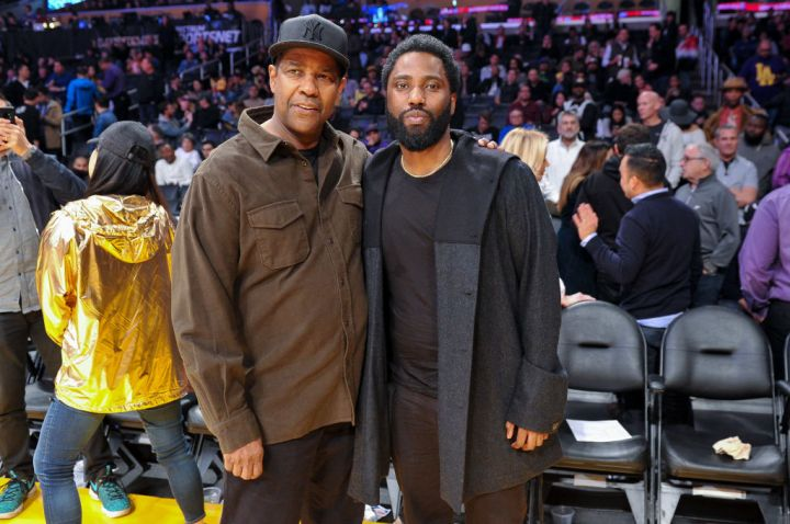Denzel and John at a Lakers Game In 2018