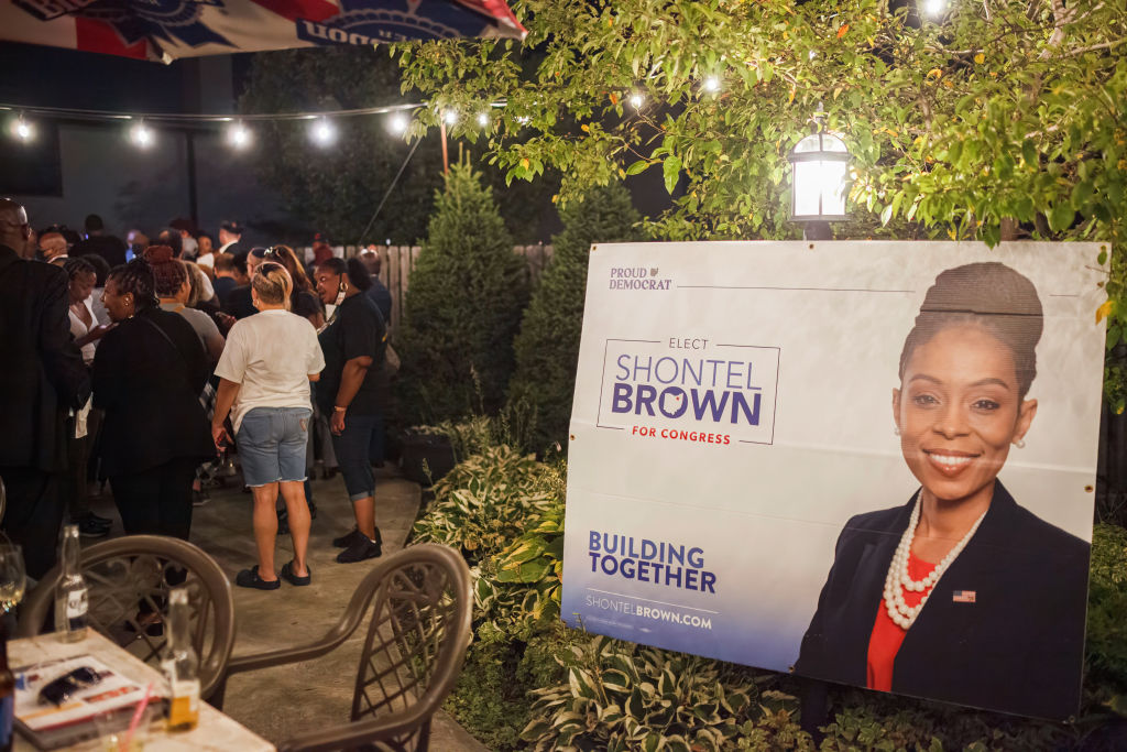 A sign for Shontel Brown at her election watch party.