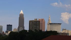 City skyline of downtown Cleveland Ohio
