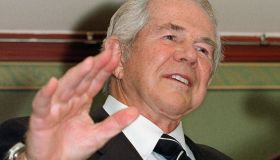 American television evangelist Pat Robertson talks to the press about his meeting with Zhu Rongji and his charity work in China at the China World Hotel in Beijing, China. ralstonchina
