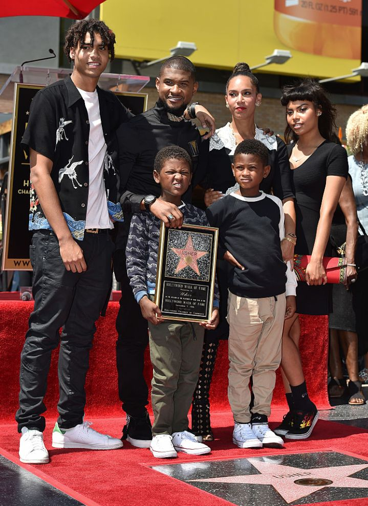 Usher, sons Usher Raymond V and Naviyd Ely Raymond, and wife Grace Miguel