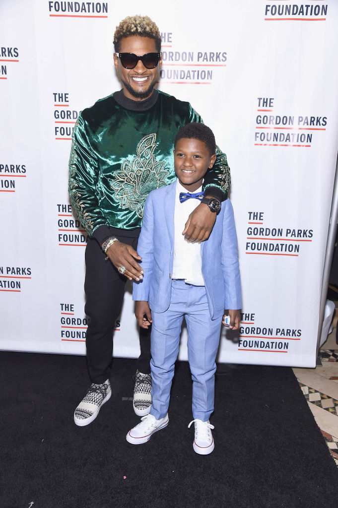 Usher and son Naviyd Ely Raymond attend the 2017 Gordon Parks Foundation Awards