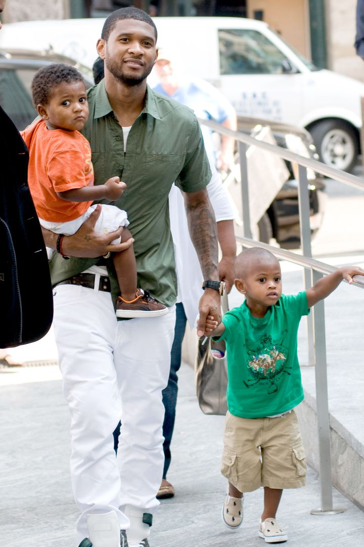 Usher & Sons Arriving at the CBS studio